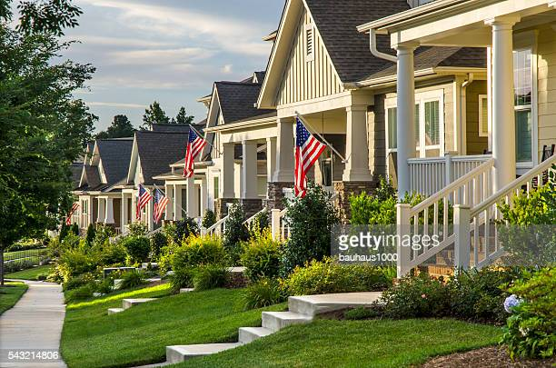 Patriotic Neighborhood with American Flags