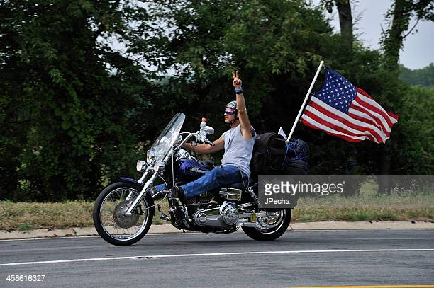 Patriotic Participant on Motorcycle in 911 Tribute Ride