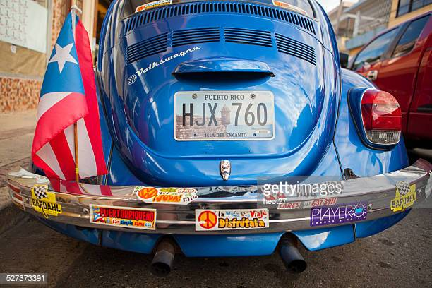 patriotic puerto ricon vw bug - bumper sticker stock photos and pictures