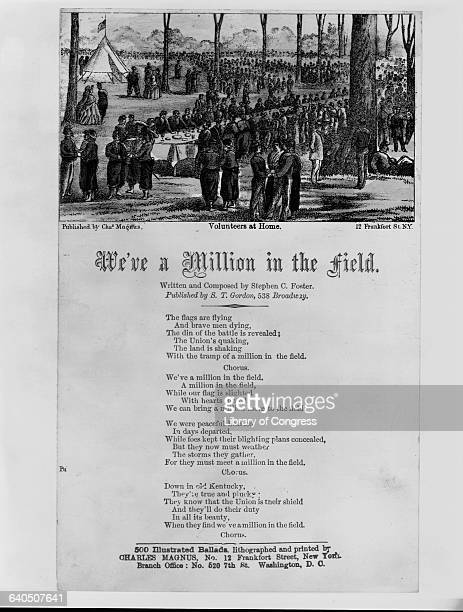 A patriotic recruiting song entitled We've Got a Million in the Field with a picture of a large Union Army baquet at top ca 1861