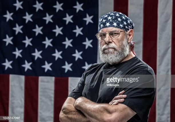 patriotic skull cap senior adult man military veteran - do rag stock pictures, royalty-free photos & images