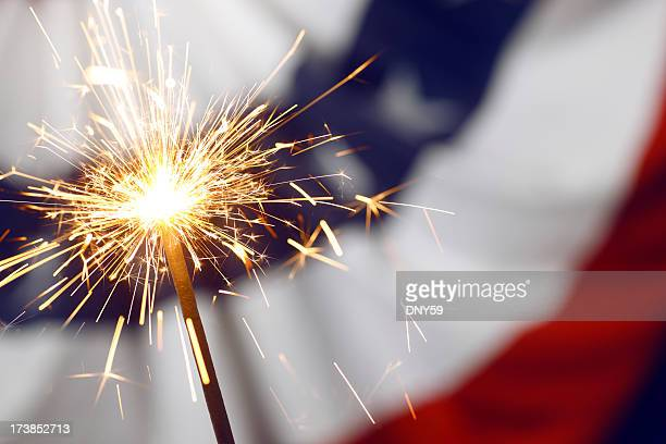 patriotic sparklers - independence day stock pictures, royalty-free photos & images