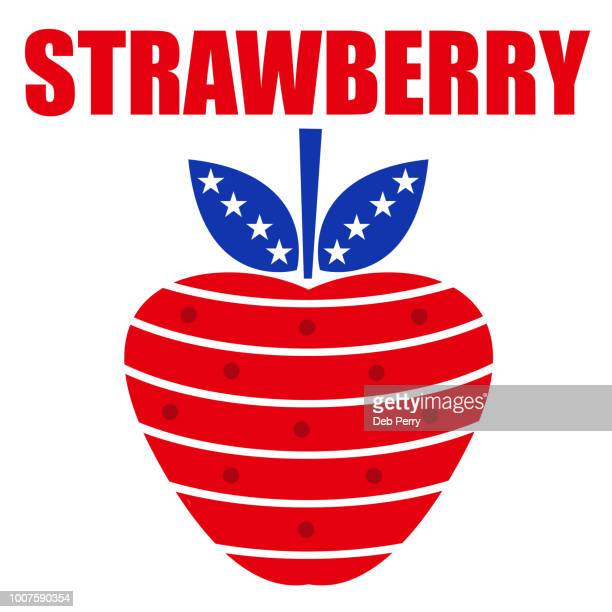 Patriotic strawberry on a white background