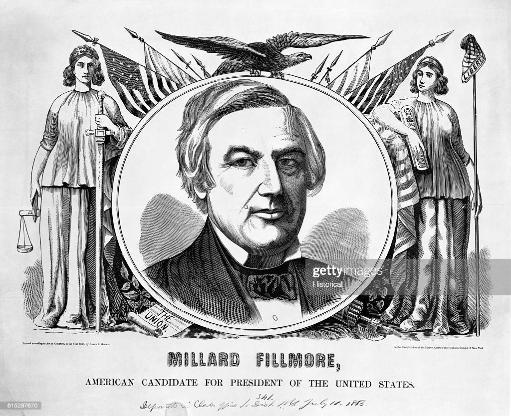 Portrait of millard fillmore from 1856 campaign pictures getty images patriotic symbols surround a portrait of millard fillmore the 1856 candidate for president under the buycottarizona Choice Image
