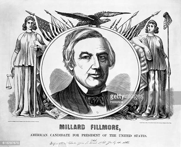 Patriotic symbols surround a portrait of Millard Fillmore the 1856 candidate for President under the auspices of the militantly antiCatholic American...