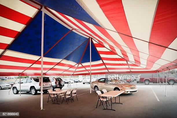 Patriotic Tent on Car Dealer's Lot