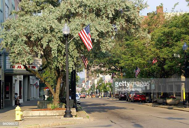 patriotic town - small town america stock pictures, royalty-free photos & images