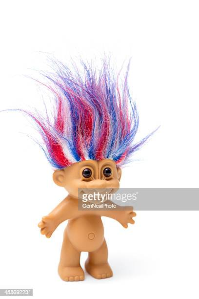 Patriotic troll vintage toy with red, white & blue hair
