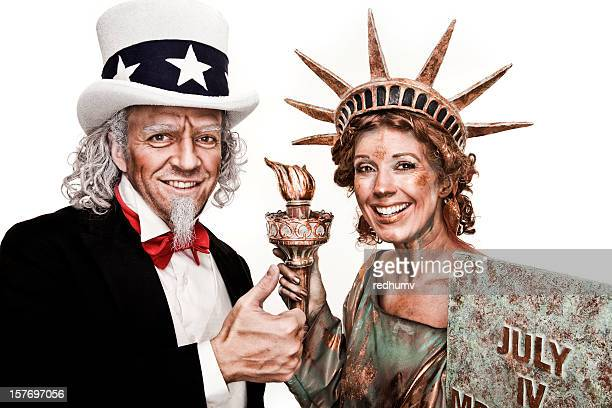 Patriotic Uncle Sam and Lady Liberty thumbs UP!