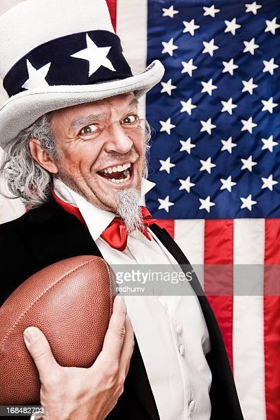 Patriotic Uncle Sam with Football