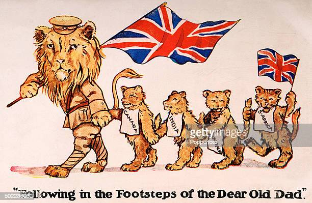 A patriotic vintage postcard illustration featuring the British lion dressed in a military uniform followed by lion cubs representing other...