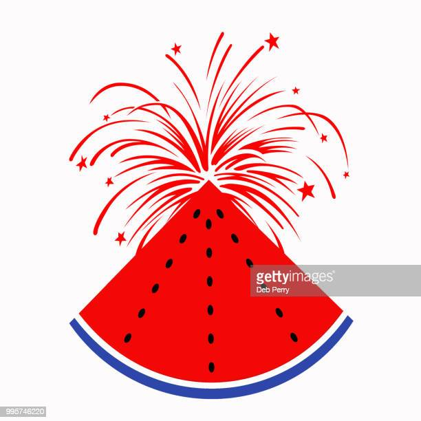 Patriotic watermelon illustration