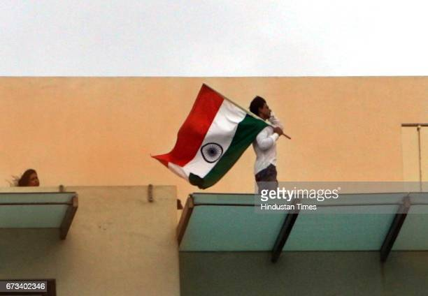 SRK Patriotism Independence Day Indian National Flag Tricolour Shahrukh Khan during a photoshoot on the terrace of his house near Bandstand on Monday
