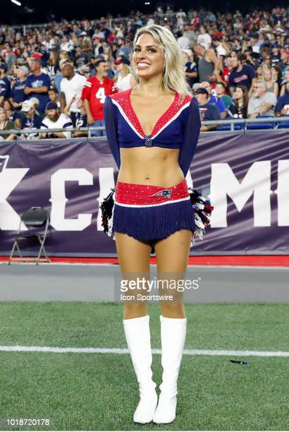 Patriots cheerleader during a preseason NFL game between the New England Patriots and the Philadelphia Eagles on August 16 at Gillette Stadium in...