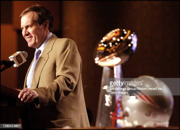 Patriots Day 5. Head coach Bill Belichick is all smiles during the coaches press conference with the Lombardi Trophy.