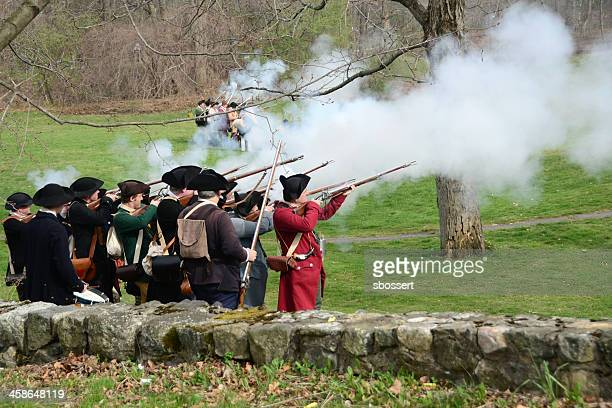 patriot's day reenactment - revolutionary war soldier stock photos and pictures