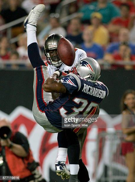 Patriots DB Mike Richardson breaks up a pass to Buccaneers WR Chad Lucas during the preseason game against the New England Patriots at Raymond James...