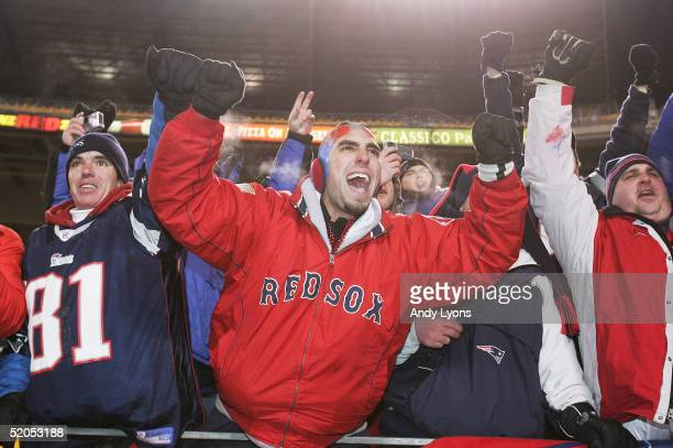 Patriots' fans celebrate the New England Patriots victory over the Pittsburgh Steelers in the AFC championship game at Heinz Field on January 23,...
