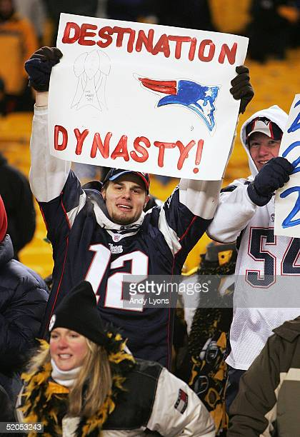 Patriots fans show their feelings as the New England Patriots defeated the Pittsburgh Steelers in the AFC championship game at Heinz Field on January...