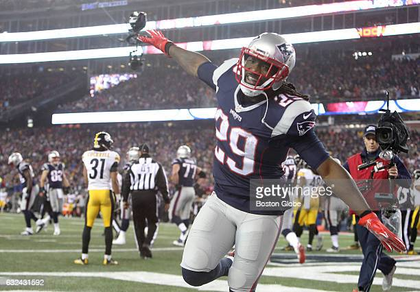 Patriots LeGarrette Blount celebrates his touchdown in the third quarter The New England Patriots host the Pittsburgh Steelers in the AFC...
