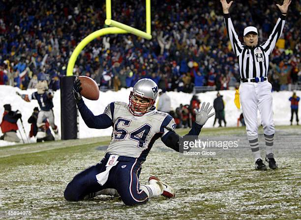 Patriots linebacker Tedy Bruschi intercepted a Jay Fiedler pass and returned it for the only touchdown of the game and the score put New England...