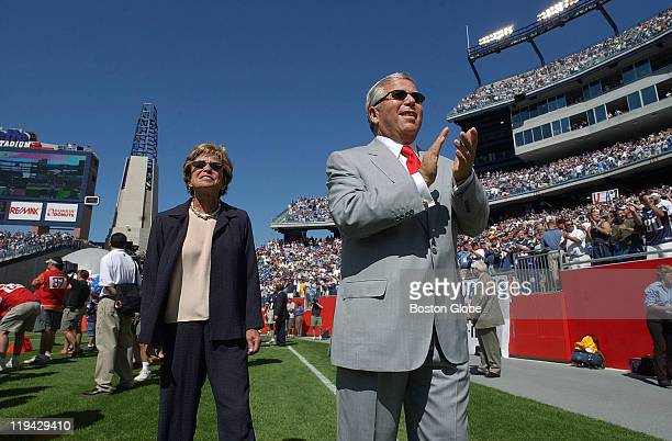 Patriots owner Robert Kraft and his wife Myra walk the sidelines at Gillette Stadium prior to the kickoff of the New EnglandKansas City game