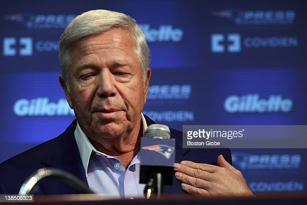 Patriots owner Robert Kraft touches the name tag of his wife Myra while talking about an emotional season with the media The New England Patriots...