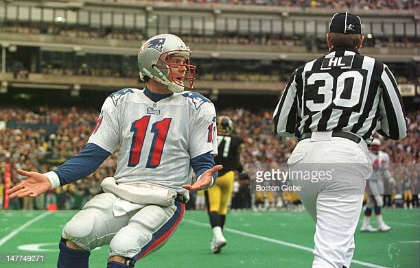 Patriots quarterback Drew Bledsoe ran about half the length of the field to scream at the head linesman on a third and long pass play fourth quarter...
