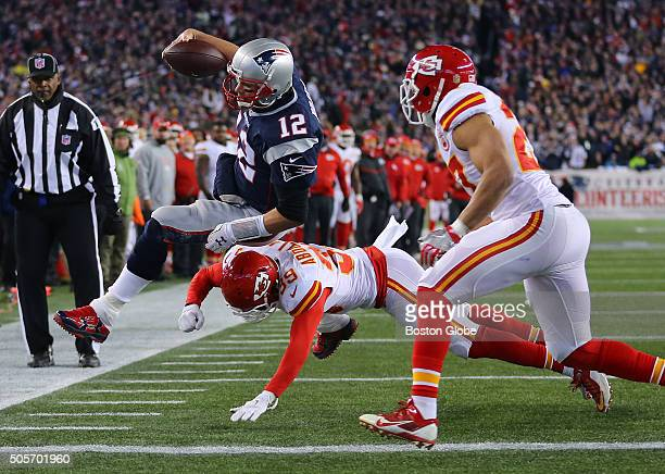Patriots quarterback Tom Brady goes towards the goal line in the second quarter The New England Patriots hosted the Kansas City Chiefs in an AFC...