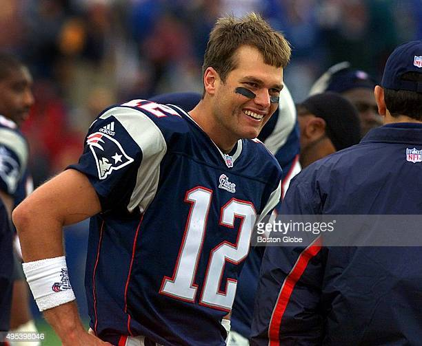 Patriots' quarterback Tom Brady was all smiles on the sidelines as the clock winds down on New England's win over the Colts The New England Patriots...