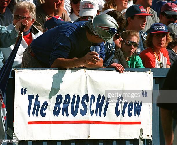 Patriots rookie Tedy Bruschi has become a hit with the beer drinking crowd at Foxborough Stadium
