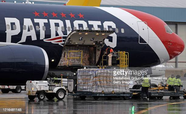 Patriots team plane bring corona supplies from china