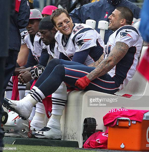 Patriots tight end Aaron Hernandez right was back in the New England lineup and he and quarterback Tom Brady left were having some fun together on...