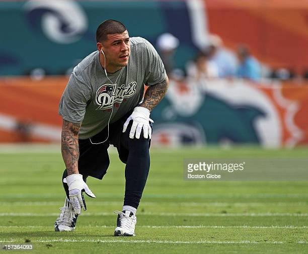 Patriots tight end Aaron Hernandez was on the field before the game getting loose as the New England Patriots visited the Miami Dolphins in a regular...