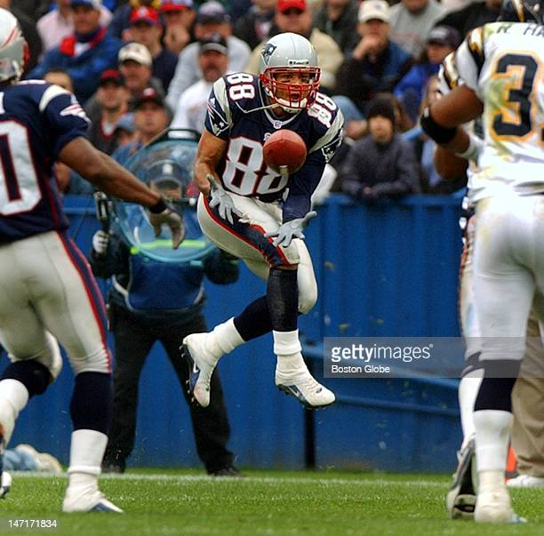 Patriots wide receiver Terry Glenn goes up in the air to haul in one of the seven passes he caught on the afternoon this one a first quarter first...
