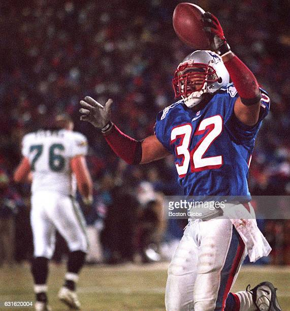 Patriots' Willie Clay celebrates his interception to stop Jacksonville's drive near the end of the game New England Patriots face the Jacksonville...