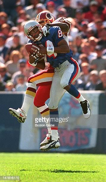 Patriots WR Shawn Jefferson goes high to grab a Drew Bledsoe pass in front of Washington CB Tom Carter