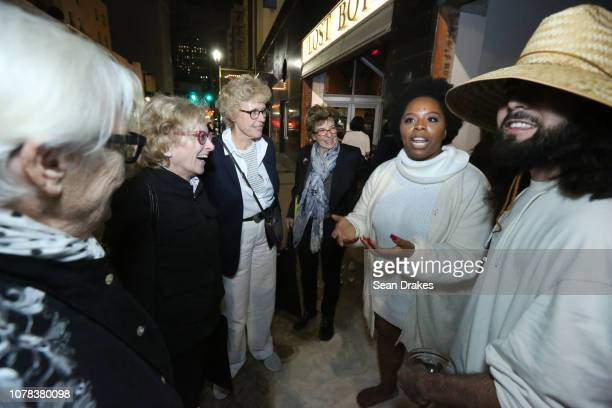 Patrisse Cullors greets Los Angeles residents Susan Ronnie Paula Lombard Kirsten Grimstad and Diana Gould after performing 'Untitled It's Dangerous...