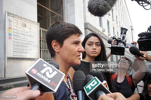 Patrizia Bugnano the lawyer of Ambra Battilana speaks to waiting media outside the courthouse after the verdicts in the 'Ruby bis' case on July 19...