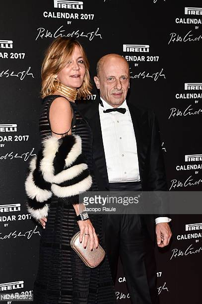 Patrizia D'Asburgo and Alessandro Sallusti attend Pirelli Calendar 2017 by Peter Lindberg photocall at La Cite Du Cinema on November 29 2016 in...