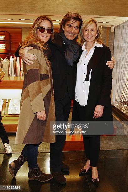 Patrizia D'Asburgo Roberto Alessi and guest attend 'Zegna Valet by Antonio Citterio' cocktail party on April 17 2012 in Milan Italy