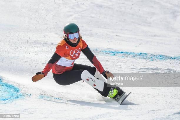 Patrizia Kummer of Switzerland at parallel giant slalom at winter olympics, Gangneung South Korea on February 24, 2018.