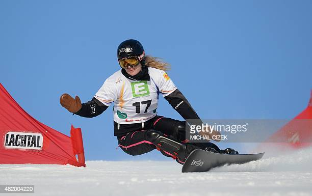 Patrizia Kummer of Switzerland competes during the Women's Snowboard Parallel Giant slalom qualification of the FIS Freestyle and Snowboarding World...