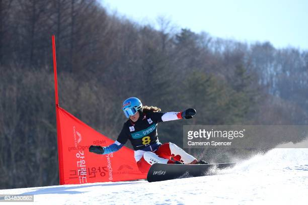 Patrizia Kummer of Switzerland competes in the FIS Freestyle World Cup Parallel Giant Slalom Ladies Final at Bokwang Snow Park on February 12 2017 in...