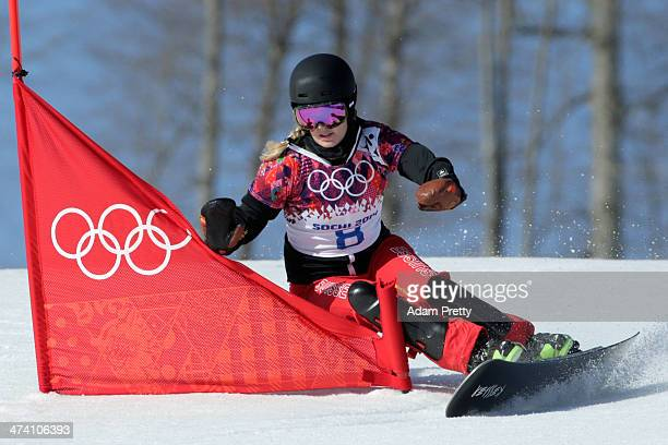 Patrizia Kummer of Switzerland competes in the Snowboard Ladies' Parallel Slalom Qualification on day 15 of the 2014 Winter Olympics at Rosa Khutor...
