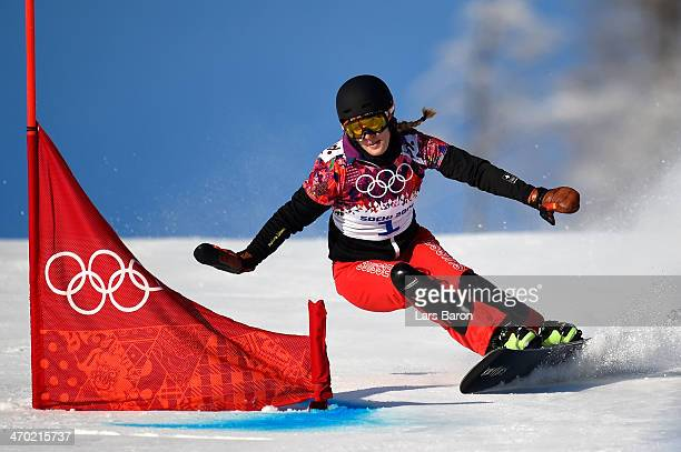 Patrizia Kummer of Switzerland competes in the Snowboard Ladies' Parallel Giant Slalom Qualification on day twelve of the 2014 Winter Olympics at...