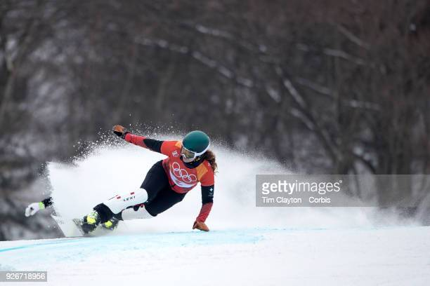 Patrizia Kummer of Switzerland in action during the Ladies' Snowboard Parallel Giant Slalom competition at Phoenix Snow Park on February 24 2018 in...
