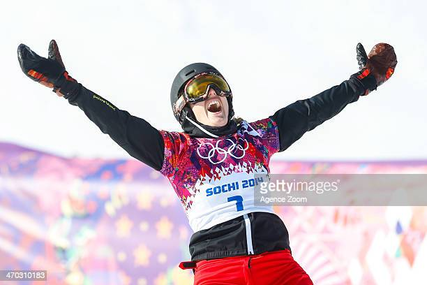 Patrizia Kummer of Switzerland wins the gold medal during the Snowboarding Men's Women's Parallel Giant Slalom at the Rosa Khutor Extreme Park on...
