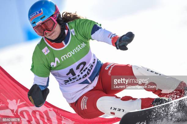 Patrizia Kummer of Switzerland wins the silver medal during the FIS Freestyle Ski Snowboard World Championships Parallel Giant Slalom on March 16...