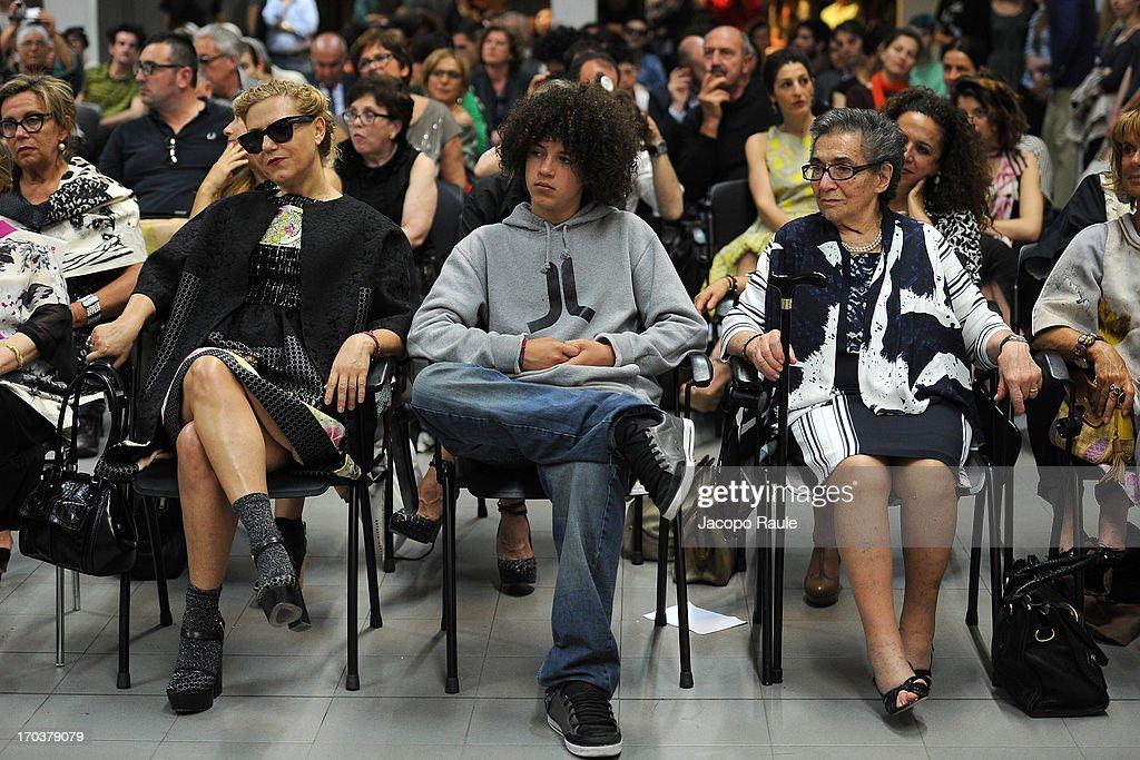 Patrizia Marras, Leonardo Marras and Nannina attend Antonio Marras Receives Honorary Degree From Academy of Fine Arts of Brera on June 12, 2013 in Milan, Italy.